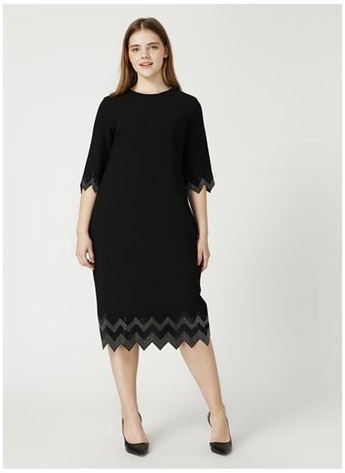 Selen Selen Siyah  Etek Ucu Taşlı Elbise Siyah